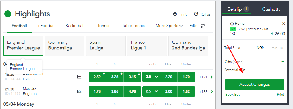 Sportybet bets