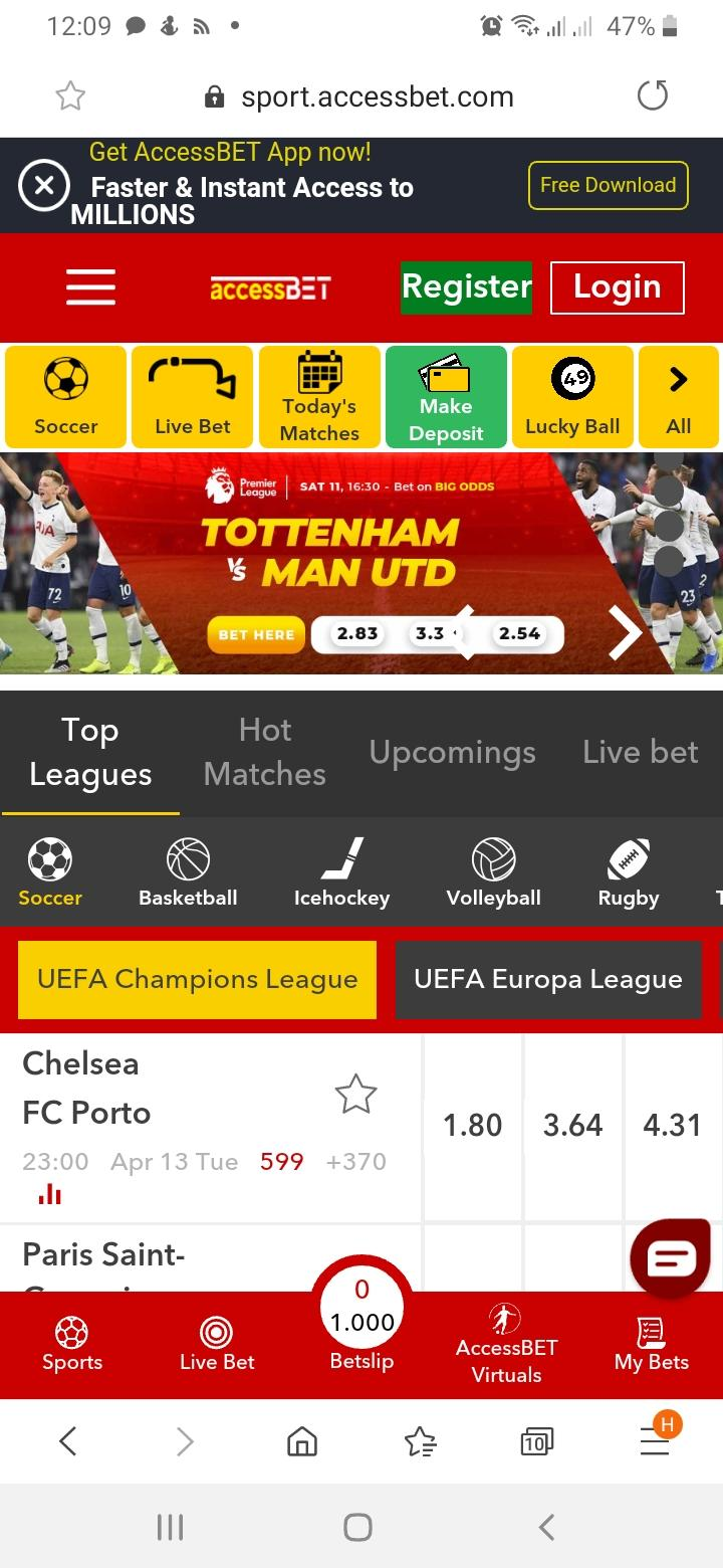 Mobile version of Accessbet