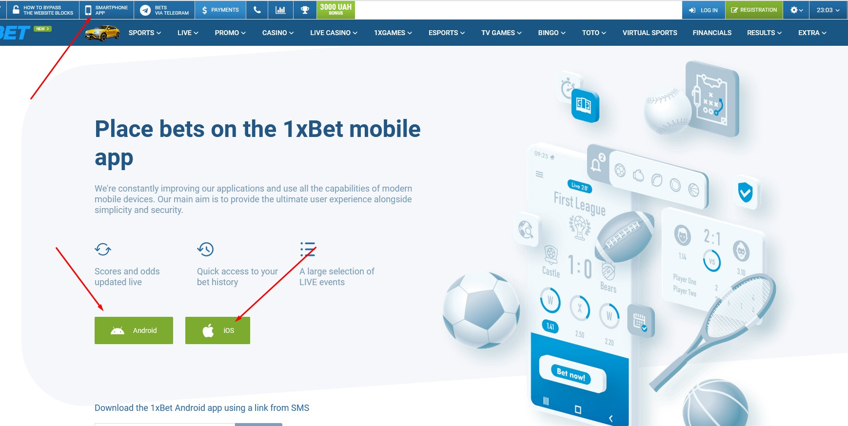 Mobile application and mobile version 1xBet